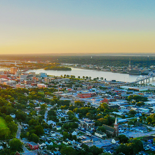 Aerial shot of the Quad Cities